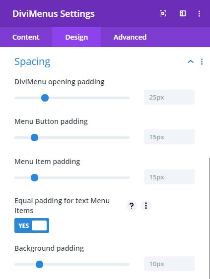 DiviMenus spacing