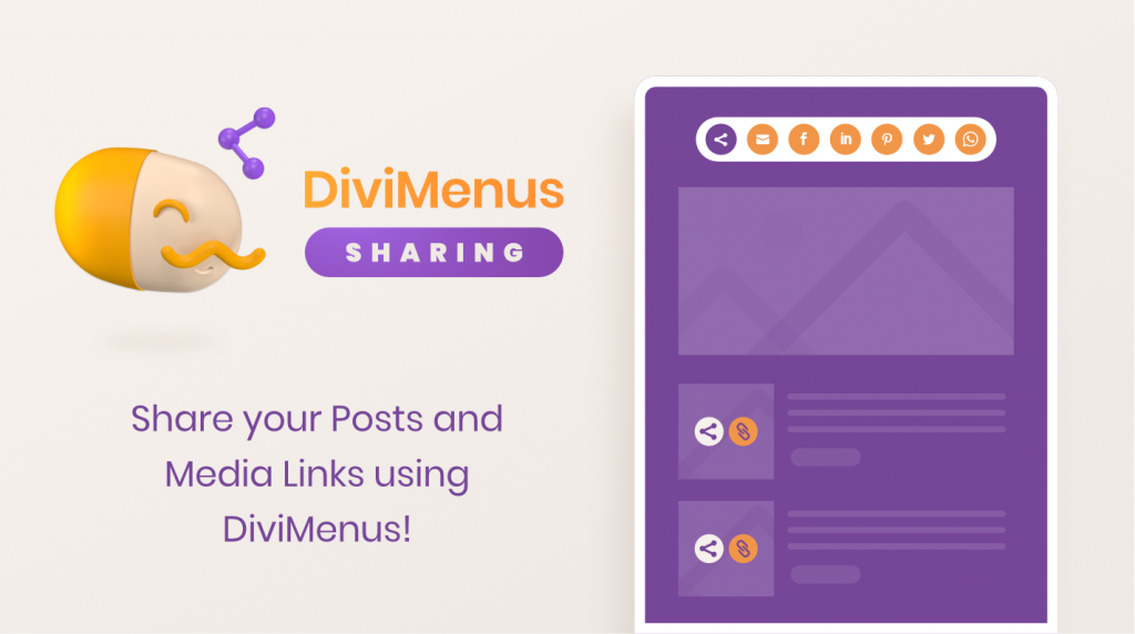 DiviMenus Sharing. Share your Posts and Media Links using DiviMenus!